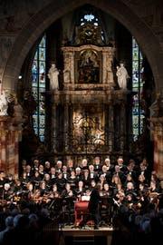 Das Bach Ensemble Luzern spielt in der Franziskanerkirche Luzern. Fotografiert am 11. März 2018. Bild: Boris Bürgisser