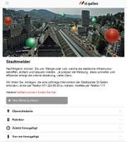 Die Titelseite der PC-Version des St.Galler Stadtmelders. (Illustration: Stadt St.Gallen)