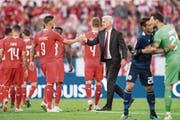 Zufriedene Schweizer nach dem Spiel gegen Japan. Überbewerten wird Vladimir Petkovic das 2:0 vom Freitag aber nicht. (Bild: Urs Flüeler/KEY)