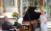 Caroline Vitale und Peter Baur am Konzert zur Traumnacht in der Ridlikapelle Beckenried. (Bild Flavia Niederberger (Beckenried, 10. Juni 2018))