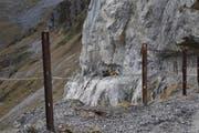 Die Unfallstelle des Felssturzes auf dem Felsweg in der Nähe der Ruosalp. (Bild: Matthias Stadler, 19. Oktober 2017)