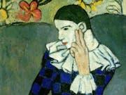 """""""Arlequin accoudé"""" von Pablo Picasso (Ausschnitt): eines von rund 80 Werken, die von Februar bis Ende Mai 2019 in der Ausstellung """"Der frühe Picasso - Blaue und Rosa Periode"""" in der Fondation Beyeler in Riehen BS zu sehen sein werden. (Bild: The Metropolitan Museum of Art/Art Resource/Scala, Florence (zVg)"""