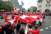 Wie nach dem historischen Sieg gegen Spanien an der WM 2010 dürften bei Schweizer Erfolgen auch heuer Fussball-Fans den Postkreisel belagern. Für die Autos bleibt die Innenstadt jedoch gesperrt. (Bild: Barbara Hettich)