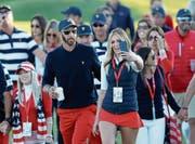 Golf-Star Dustin Johnson mit Freundin Paulina Gretzky. (Bild: David Cannon/Getty (Jersey City/1. Oktober 2017))