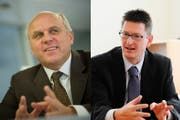 FDP-Mann Georges Gladig (links) und Norbert Näf von der CVP kandidieren fürs Wittenbacher Gemeindepräsidium. (Bilder: Michel Canonica, PD)