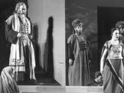 """Bonaldo Giaiotti als Zaccaria (links) 1986 auf der Bühne des Zürcher Hallenstadions in Giuseppe Verdis """"Nabucco"""". Am Dienstag ist der Sänger - einer der besten Bässe seiner Generation - mit 85 Jahren gestorben. (Bild: Keystone/STR)"""