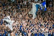 FCL-Fans sorgen für Stimmung in der heimischen Arena (Bild: Alexandra Wey / Keystone (Luzern, 22. April 2018))