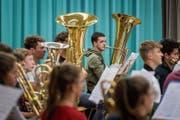 Die Knabenmusik St.Gallen probt für ihren grossen Auftritt morgen Samstag auf dem Olma-Gelände. (Bild: Michel Canonica)