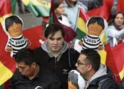Ein Demonstrant fordert Gefängnis statt Wiederwahl für Evo Morales. (Bild: Martin Alipaz/EPA (La Paz, 21. Februar 2018))