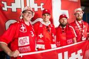 Roland Kaiser (v.l.), Roger Fuchs, Sandro von Moos und Peter Würsch freuen sich auf die WM. (Bild: André A. Niederberger (Stans, 12. Juni 2018))