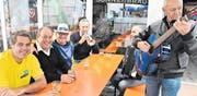 Die gute Stimmung ist momentan getrübt: Der Wiga-Messeleiter und heutige Wigab-Alleinaktionär Paul Schlegel (Zweiter von links) freute sich zum Abschluss der Wiga 2017 über das gute Gelingen und einen neuen Besucherrekord. (Bild: Thomas Schwizer, 17. September 2017)