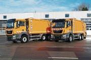 So könnte der zukünftige Luzerner Güselwagen aussehen: ein Musterfoto von typähnlichen Elektro-Fahrzeugen der MAN AG. (Bild: PD)