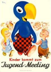 Kultfigur Globi: Das Werbemaskottchen gründet Clubs und reist herum. Die Bücher kommen erst später. (Bild: Schweizerisches Nationalmuseum)