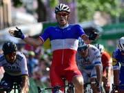 Der Franzose Arnaud Démare gewinnt in Bellinzona im Massensprint die 8. Etappe der Tour de Suisse (Bild: KEYSTONE/GIAN EHRENZELLER)