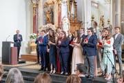 Die erfolgreichen Absolventen an der Maturafeier der Stiftsschule Engelberg. (Bild: Izedin Arnautovic (Engelberg, 15. Juni 2018))