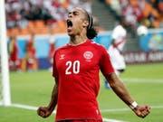 Mit seinem Tor bescherte er Dänemark gegen Peru einen glückhaften 1:0-Sieg: Yussuf Poulsen (Bild: KEYSTONE/EPA/ERIK S. LESSER)
