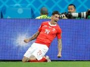 Steven Zuber sorgt mit seinem Ausgleich gegen den fünffachen Weltmeister Brasilien für den ersten Schweizer Jubel-Moment an der WM (Bild: KEYSTONE/AP/FELIPE DANA)