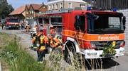 Die Feuerwehr Muolen mit ihren Einsatzfahrzeugen. (Bild: Yvonne Aldrovandi-Schläpfer)