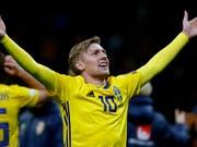 Schweden mit Emil Forsberg will wieder einmal siegreich in eine WM starten (Bild: KEYSTONE/AP/ANTONIO CALANNI)
