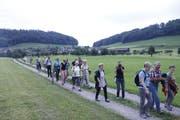 Der Zug der Kirchgänger auf dem Weg von der Kapelle Tufertschwil zur Kirche Ganterschwil. (Bild: Peter Küpfer)