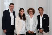 Die neue Führung der Schweizer Sporthilfe: V.l. Urs Wietlisbach, Dominique Gisin, Doris Rechsteiner und Bernhard Heusler.