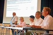 Gemeindepräsident Ruedi Zbinden erläutert die Rechnung. (Bild: Mario Testa)