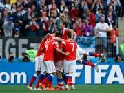 Das russische Nationalteam schoss sich mit einem 5:0 gegen Saudi-Arabien zurück in die Herzen der heimischen Fans (Bild: KEYSTONE/AP/HASSAN AMMAR)