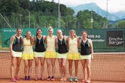 Das erste Frauenteam vom Allmend Luzern spielt um den Aufstieg in die NLB (von links): Corinne Erni, Lea Amrhein, Sina Amrhein, Nicole Riner, Alexandra Wimmer, Selina Kaufmann und Joelle Condrau. (Bild: pd)