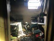 Die Explosion einer Lithium-Batterie hat am Freitag in Mur einen Brand verursacht. (Bild: Kantonspolizei Freiburg)
