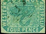 """Die australische Briefmarke """"Kopfstehender Schwan"""" ist in Zürich für 314'000 Franken versteigert worden. (Bild: Auktionshaus Corinphila)"""