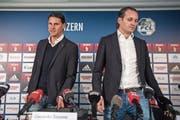 Ihre Wege trennen sich schon wieder: Sportchef Meyer (rechts) und Trainer Seoane. (Bild: Urs Flüeler/Keystone (Luzern, 9. Januar 2018))