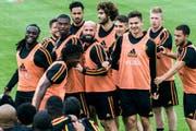 Die Belgische Mannschaft beim Training am 1. Juni. (Keystone)