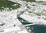 Die Stadt Luzern kann man jetzt im lebendigen 3-D-Modell erkunden. (Bild: Screenshot von map.stadtluzern.ch)