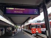 Die Ersatzkomposition der Zentralbahn kurz vor dem Zwischenfall bei der Einfahrt in den Bahnhof Stans. (Bild: Matthias Piazza (Stans, 19. Juni 2018))
