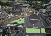 Das Areal um den Seetalplatz in Emmen. Grün eingefärbt sind die Flächen, die zwischengenutzt werden sollen. Visualisierung: PD