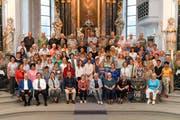 Der Gemeinschaftschor, zusammengesetzt aus dem Kirchenchor Buochs und dem Stiftschor Engelberg, der im kommenden Dezember 2018 das Mose-Oratorium aufführt. (Bild: PD)