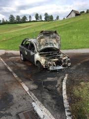 Der völlig ausgebrannte Wagen nach dem Einsatz der Rettungskräfte. (Bild PD)