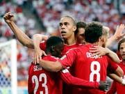 Jubeln die dänischen Spieler auch gegen Australien? (Bild: KEYSTONE/EPA/ERIK S. LESSER)
