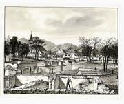 Diese Tuschzeichnung von J. U. Fitzi zeigt Berneck nach dem Brand: Im Bild die Obere Dohlengasse und der Platz. Heute sind diese Orte unter den Namen Neugass und Rathausplatz bekannt. (Bild: pd/Staatsarchiv)