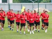Die serbischen Spieler streben gegen die Schweiz den zweiten Sieg bei der WM an (Bild: KEYSTONE/EPA/ARMANDO BABANI)
