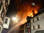 Der Grossbrand in der Altstadt von Steckborn war durch einen Akku ausgelöst worden. (Bild: Archiv: Keystone-SDA/Kantonspolizei Thurgau)