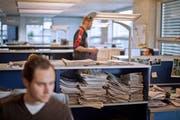 Lokaljournalisten bei der Arbeit. (Bild: Gaetan Bally/KEY)