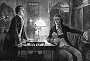 Goethe (links) und Schiller waren Freunde – und werden in den Romanen von Stefan Lehnberg zudem abenteuerlustige Privatdetektive. (Bild: AKG/Keystone)