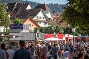 Leute so weit das Auge reicht: Tausende Besucher am ersten Tag des Zuger Seefests. Bild: Christian H. Hildebrand (Zug, 23. Juni 2018)