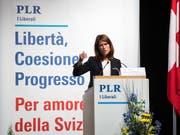 FDP-Präsidentin Petra Gössi plädiert an der Delegiertenversammlung der FDP Schweiz vom Samstag in Airolo für eine eigenständige und starke Schweiz. (Bild: KEYSTONE/TI-PRESS/GABRIELE PUTZU)