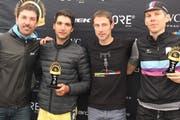 Die drei schnellsten Velofahrer mit dem Doppelolymiasieger: (von links) Fabian Cancellara, Luis Nogueira, Patrick Jauch und Martin Brunner. (Bild: Paul Gwerder (Andermatt, 24. Juni 2018))