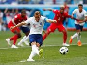 Mit zwei wuchtigen Penaltys und einem Ablenker Englands Hattrick-Schütze gegen Panama: Captain Harry Kane (Bild: KEYSTONE/AP/MATTHIAS SCHRADER)
