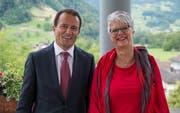 Peter Wälti und Heidi Abächerli, Fahnenpaten. (Bild PD/Raphael Disler)