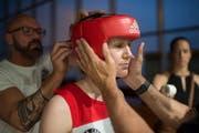 Corinna Widmer vor ihrem Auftritt im Athletik Zentrum. Bild: Benjamin Manser