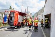 Die Feuerwehr im Einsatz am Montagmittag. (Bild: Feuerwehr Stadt Luzern)